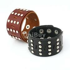 Genuine Leather Men's Punk Wide Snap Bracelet Wristband Adjustable Cuff Bangle