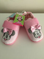 Disney Minnie Mouse Girls Cute Pink & Grey Ear & Bow  slippers Size 8,9