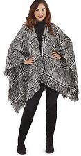 Ladies Houndstooth Checked Wrap with Fringe Detail, Poncho, Wrap, Black/White