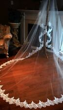 Hot Lace Applique Edge Wedding Veil White ivory Cathedral Free Shipping Comb New