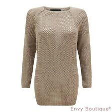 Ladies Womens Chunky Holey Knitted Crochet Knitted Jumper Mesh Top Knit Sweater