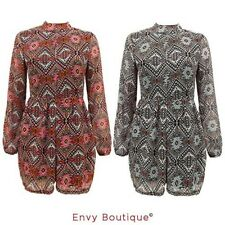 Womens Ladies Chiffon Tribal Print Long Sleeve Short Playsuit Jumpsuit Dress Top