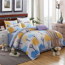 Twin & Queen Size Yellow Tree Blue Cloud Reversible Theme Duvet Cover Bed Set