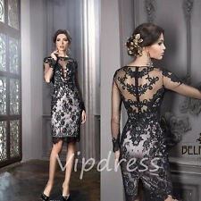 Mother Of The Bride Dresses Long Sleeve Lace Appliques Keen Length Prom Gowns