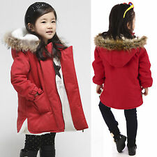 Kid Girls Casual Faux Fur Hooded Parka Jacket Cotton Padded Coat Outerwear 3-13Y