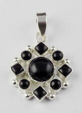 Natural Black Onyx Cabochon Gemstone 925 Sterling Silver Party Wear Pendant