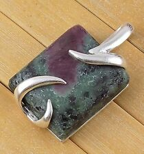 Natural Ruby Zoisite Cabochon 22x26mm Gemstone 925 Sterling Silver Pendant
