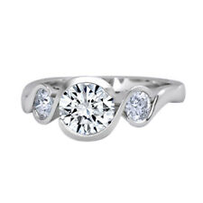 1.00 Ct Round Channel Set Three Stone Gemstone Ring Solid 18K White Gold