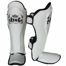 TOP KING GENUINE LEATHER MUAY THAI SHIN GUARDS- TKSGP-WHITE-DURABLE/COMFORTABLE!
