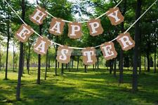 Rustic Happy Easter Bunny Banner Hanging Garland Easter Party Decora