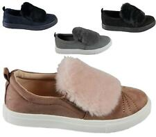 New Womens Ladies Fluffy Trainers Hi Skaters Slip On Sneakers Casual Shoes Size