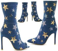 WOMENS LADIES BLUE DENIM SEQUIN STAR PRINT HIGH HEEL BOOTIES ANKLE BOOTS SIZE