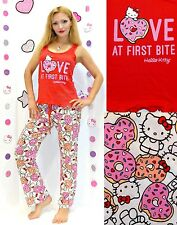 "NWT Sanrio Hello Kitty ""LOVE at First Bite"" Pants and Top Pajama Set S,M,L"