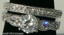 Vintage style CZ Cubic Zirconia Bride Engagement Band Wedding Ring set 18K GP
