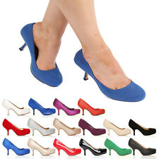 WOMENS MID HEEL CASUAL SMART WORK PUMP LADIES COURT SHOES SIZE 3-8