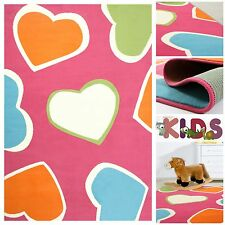 Kids Play Mat with colorful Heart Hearts Rug for girls Pink