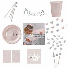 Princess Perfection Pink & Silver Party, Plates, Cups, Napkins Party Bundles