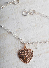 STERLING SILVER & ROSE GOLD PLATED BEST FRIENDS FOREVER HEART CHAIN BRACELET 925