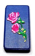 Woodys Originals Inc. Rose Flower  Blue Leather Cell Phone Cases