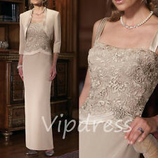 Champagne Mother Of The Bride Dresses Lace Appliques 3/4 Sleeve Jackets Custom