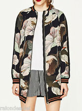 ZARA (inditex) black floral oversized printed bomber jacket 7891/433 SS17