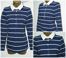 New Ladies M&S MARKS & SPENCER Rugby Polo Top Navy Striped SIZE 8 - 24