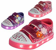 Baby Toddler Girls LED Light Up Canvas Glitter Tennis Shoes Sneakers Studded Toe