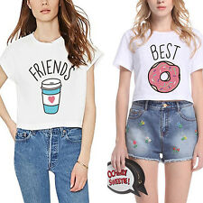 Women Fashion Donuts Coffee Letter Print T-Shirt Short Sleeve Top Tee New Trendy