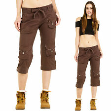 New Ladies Womens Dark Brown Lightweight Cotton Long Combat Cargo Shorts Pants