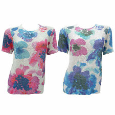 Womens Ladies New Floral Jumper Sweater Stylish Top Pink/Blue Flower Size 10-20