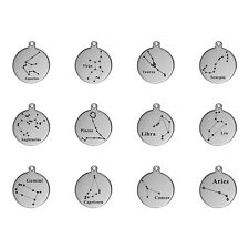 HOT Dog tag Silver Stainless Steel Round Pendant Necklace 12 Constellation