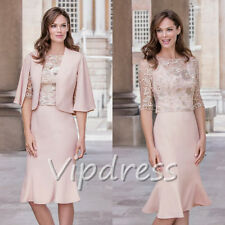 Mother of The Bride Dresses Lace Appliques Half Sleeve Jackets Keen Length New