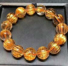 Natural Copper Rutilated Quartz Crystal Round Beads Bracelet 15mm AAAAA