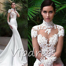 Mermaid Wedding Dresses Long Sleeve Lace Appliques High Neck Bridal Gowns Custom