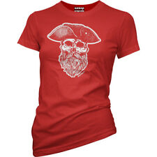 Womens Aesop Originals Ye Olde Salty Dog Pirate Captain T-Shirt Red Sailor Skull