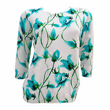 Womens Ladies New Floral Jumper Top Sweater Blue/Pink/Turquoise/Red Size 10-20