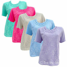 Womens Ladies New Lace T-Shirt Top Cotton Cap Sleeve Net Smart Casual Size 10-20