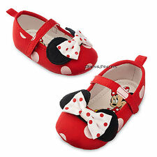 Minnie Mouse RED Polka Dot with Bow COSTUME BABY Dress Up SHOES Disney Store NEW