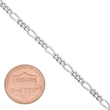 3mm Rhodium Plated Miami Figaro Link Chain