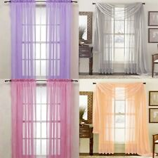 Solid Tulle Voile Door Window Curtain Drape Panel Sheer Scarf Valances Divider