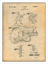 1958 Fender Stratocaster Electric Guitar Patent Print Art Drawing Poster 18X24