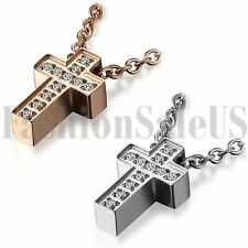 Womens Rosegold Silver Tone Stainless Steel Ziconia Cross Pendant Necklace Chain