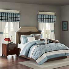 24pc Blue & Brown Embroidered Comforter Set, Sheets, Pillows, Curtains AND More