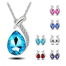 3pcs  Chic Crystal Stud Earring Silver Plated Pendant Necklace Set