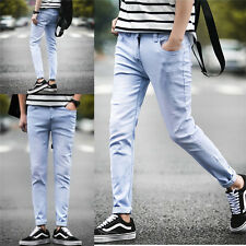 New Casual Men's Straight Denim Slim Fit Pants Pencil Trousers Washed Jeans w105