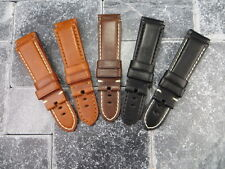 New 24mm Soft Cow Leather Strap Black Brown Deployment Watch Band PANERAI 24 VI