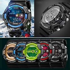 Mens Army Quartz Watch Stainless Steel Waterproof LED Digital Date Alarm Sports