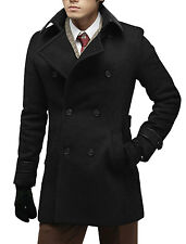 Man Turn Down Collar Double-breasted Worsted Coat