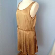 SOMETHING ELSE By Natalie Wood SEXY GOLD SILKY PLEATED DRESS New sz 8 + 10 $150