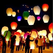 10X/14X Chinese Sky Flying Paper Red White Lanterns Wedding Candle Fire Lamp UK